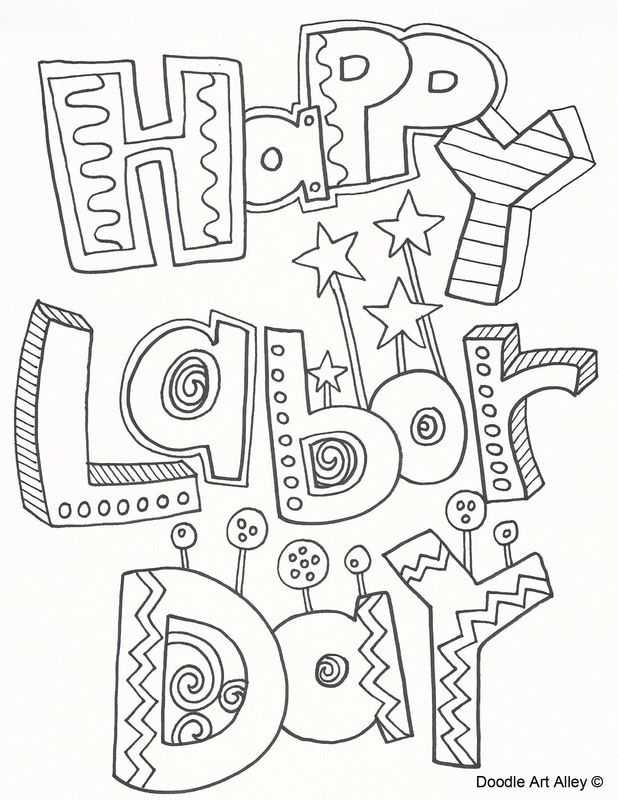 Labor Day coloring pages from Doodle Art Alley. Print and