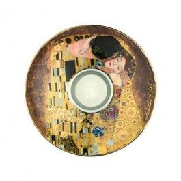 """Goebel - Artis Orbis - Gustav Klimt - The Kiss - Art light - Porcelain tea light 'Artist Light' with genuine 22-carat gold decoration showing """"The Kiss"""" by Gustav Klimt. Including tea light candle and collector's booklet. Presented in a decorated nostalgic tin gift box with foam inlay. Height: 3.5 cm. Diameter: 15 cm."""