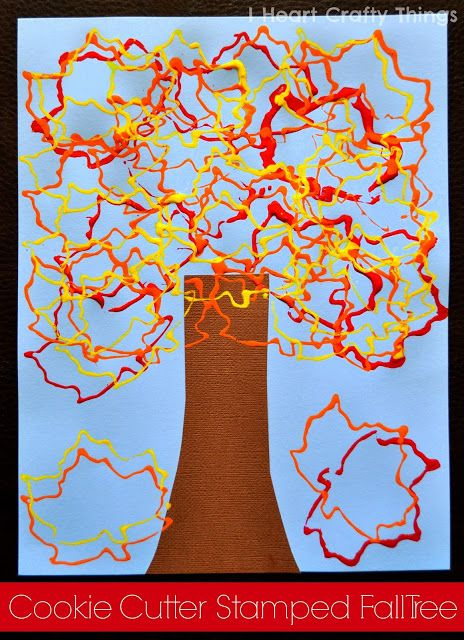 Cookie Cutter Stamped Fall Tree - Pinned by @PediaStaff – Please Visit ht.ly/63sNt for all our pediatric therapy pins