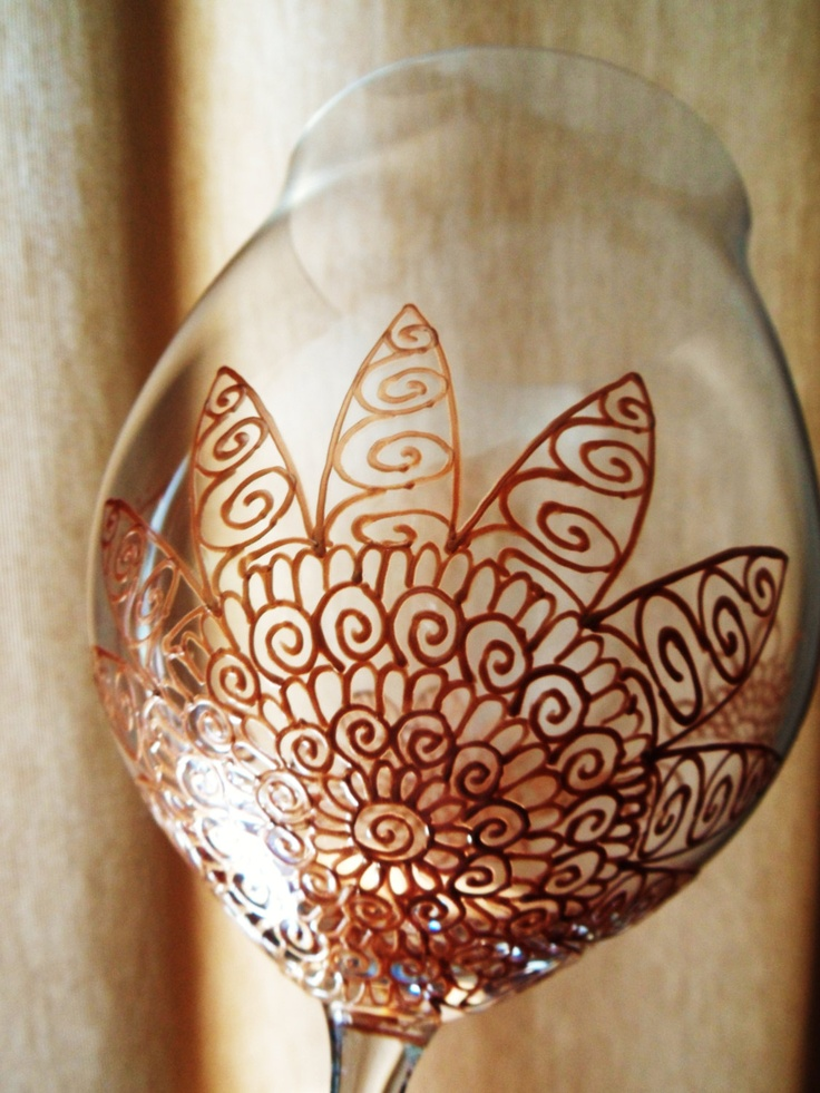 Mehndi Arm Glass : Wine glasses custom designed in henna designs with