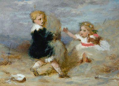 George Elgar Hicks (1824-1914), Ένα αγόρι παίζει μ´ένα μωρό στην παραλία. Δημοτική Πινακοθήκη του Σαουθάμπτον.