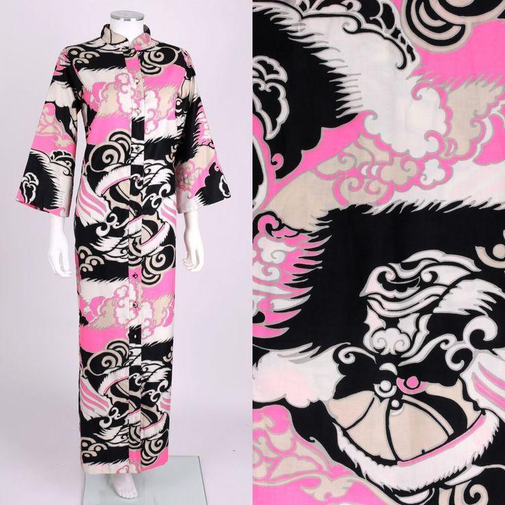 VTG 1970s PENTHOUSE GALLERY PINK BLACK JAPANESE ASIAN PRINT CAFTAN MAXI DRESS S #PenthouseGallery