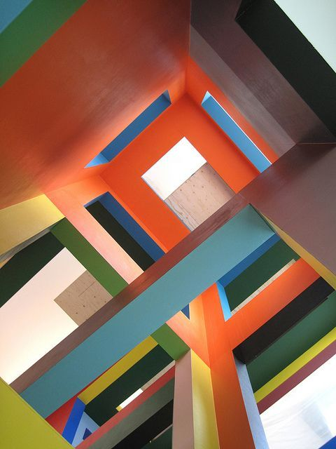 Colourful lines at the Dick Bruna House, Utrecht, The Netherlands