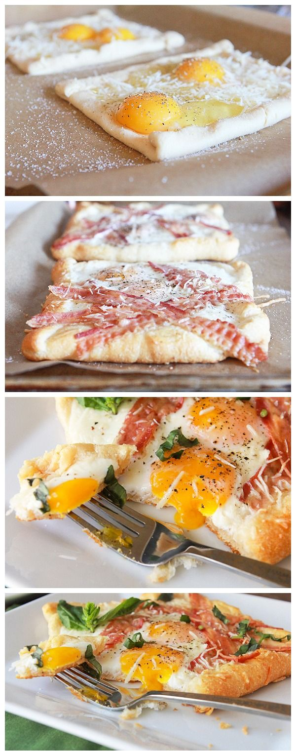 BACON AND EGG CRESCENT SQUARES INGREDIENTS 1 tube Pillsbury™ refrigerated crescent rolls 4 eggs 6 slices bacon 2 tablespoons Parmesan cheese Salt and pepper 1 tablespoon fresh chopped basil,...