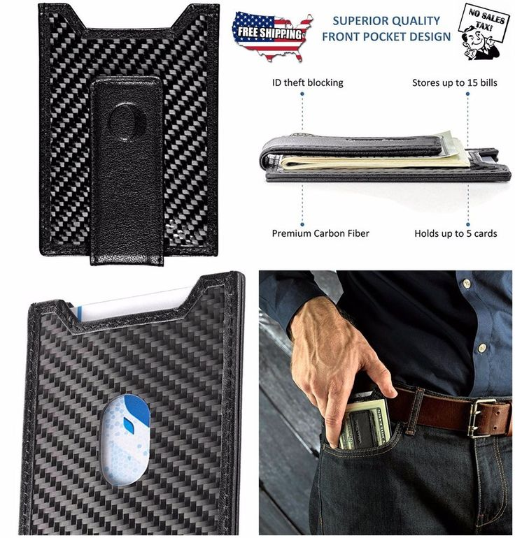Secure Slim Carbon Fiber Money Clip Wallet RFID Card Holder Leather Front Pocket #NewClipz #MoneyIDCardHolderWallet #slim #wallet #frontpocket #menaccessories #moneyclip #money #leather #carbon #wallets #men #accessories #ebay #buynow