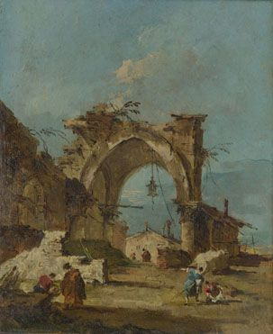 Francesco Guardi: 'A Caprice with a Ruined Arch', 1775, The National Gallery, London.