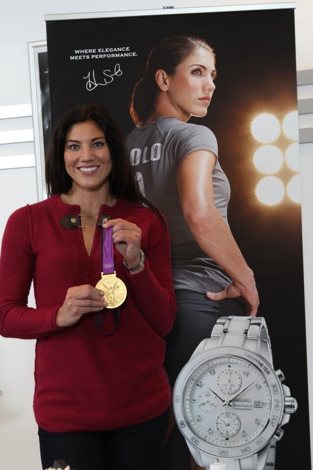 Hope Solo, spokesperson for Seiko watches. (Seiko/Facebook): Soccer Fit, Athletic Woman, Seiko Facebook, Books Signs, Watches Soccer Uswnt, Hope Solo, Woman Soccer, Celebrity Watches, Women'S Soccer