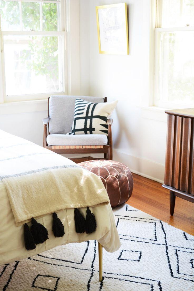 Master Bedroom - White walls,y brass bed, midcentury furniture.