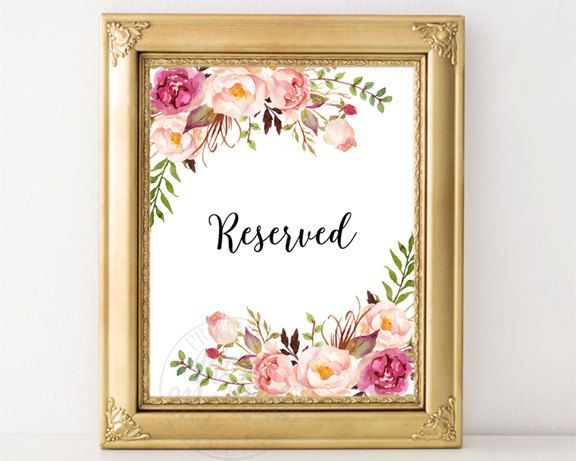 Wedding Reserved Sign, Reserved Table Sign, Reserved Signs, Floral Reserved Sign, Reserved Seating Sign, Printable Reserved Sign, Reserved by AdornMyWall on Etsy