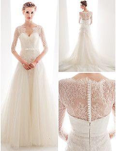 vestido de noiva um laço trem tribunal linha e rainha tule anne decote vestido de noiva com faixa