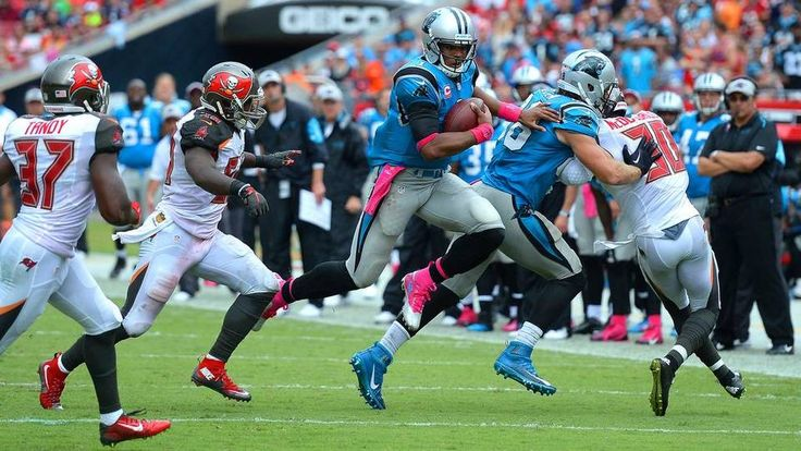 Carolina Panthers quarterback Cam Newton flies through the air as he rushes for yardage vs the Tampa Bay Buccaneers during third quarter action on Sunday, October 4, 2015 at Raymond James Stadium in Tampa, Fl. The Panthers defeated the Buccaneers 37-23.