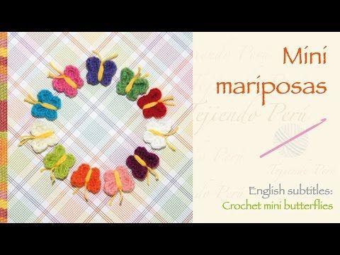 Mini mariposas tejidas a crochet Más videos: https://www.youtube.com/user/esperosas/videos