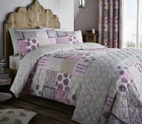 Floral Ethnic Patchwork Double Duvet Cover Set    This timeless duvet set looks like someone has spent hours making this cover come together.  In a lovely patchwork effect in shades of Berry, Pink and Grey.  Created to add a touch of comfort to your room.  Cotton rich fabric with 60% cotton and 40% Polyester it.  £18.99
