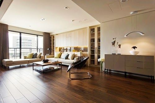 Stunning Solid Brown Oak Wood Floor Tile in Contemporary Living Room