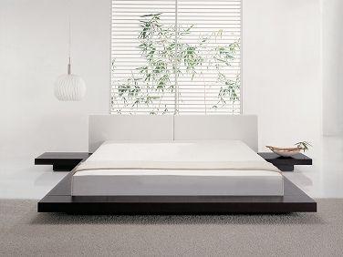 Futonbett - Holzbett - Bett 180x200 cm - Japan Design - Lederbett - ZEN