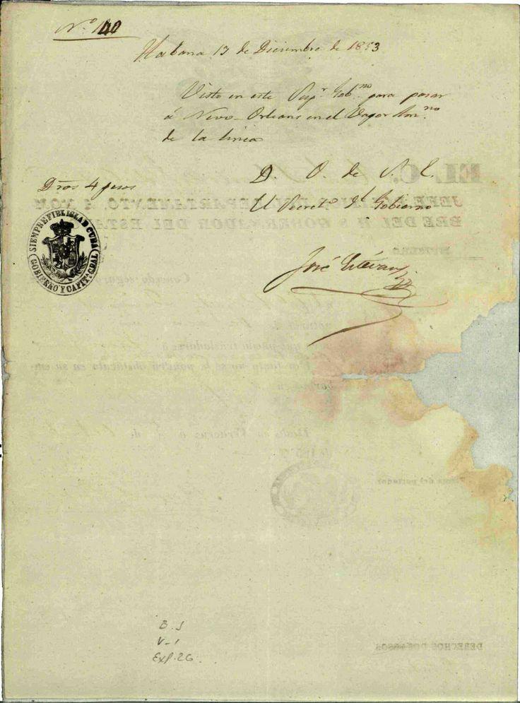 DOCUMENTO-111-B2. (1 imagen reverso) Expediente que comprende los documentos relativos al destierro del  ciudadano Benito Juárez. Oaxaca, Puebla; Jalapa, mayo-diciembre de 1853. Benito Juárez, vol. 1, exp. 26, fs. 13, 14 y 15 ~ AGN