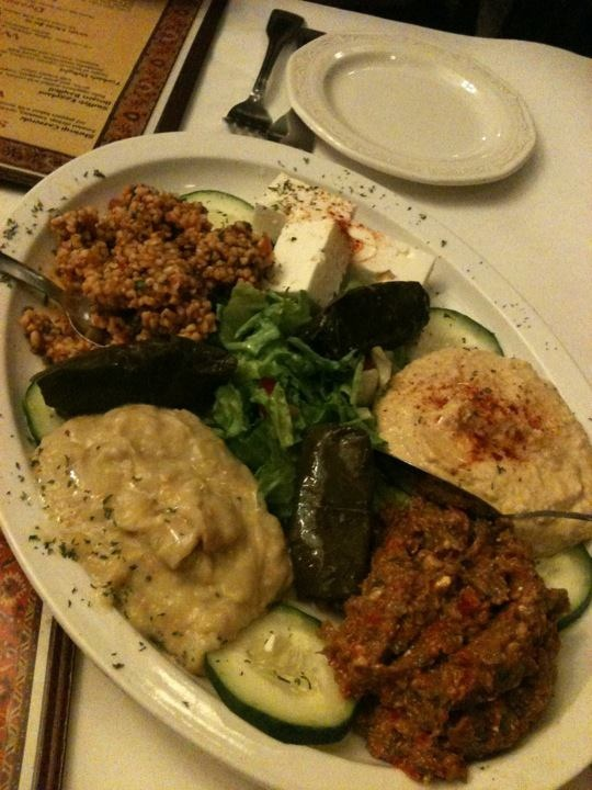 Appetizer sampler at the Bosphorus Cafe (Turkish Restuarant) in Indianapolis (January 21, 2012)