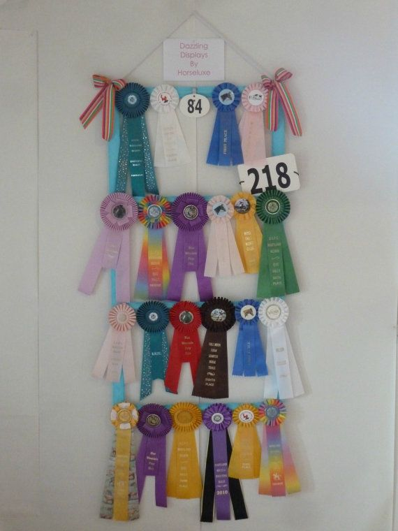Custom 4 Tier Horse ribbon display. Holds 24 ribbons and get to customize the Cord, Display and ribbon garnish colors. On Etsy, I love Etsy!