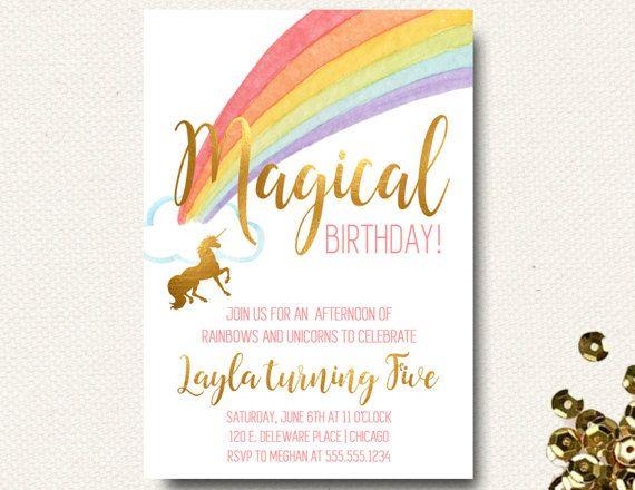 Unicorno compleanno invito floreale oro ragazze di DesignOnPaper