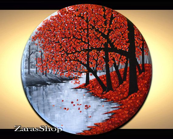Original abstract red tree painting, 24 inch round canvas home or office wall art, impasto painting, gift