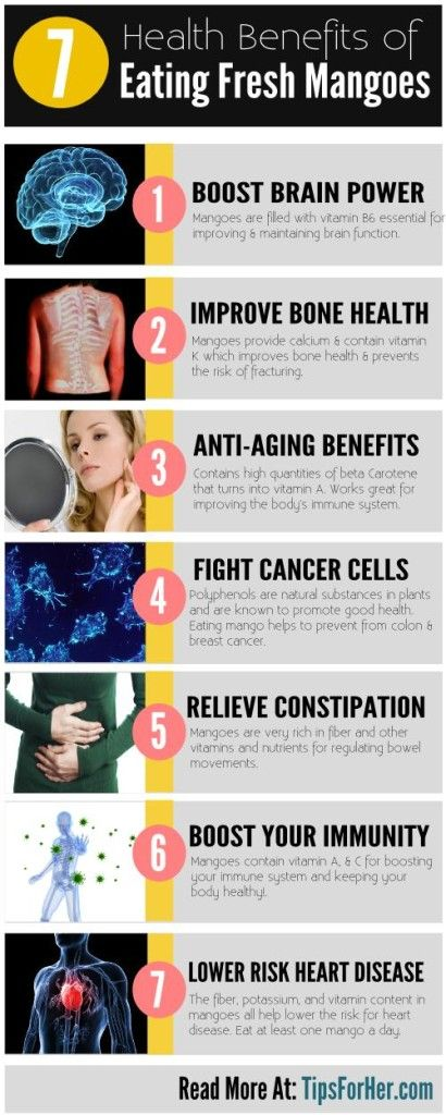7 Health Benefits of Eating Fresh Mangoes – Helps to boost your immune system, improve your brain function, & relieve constipation. Eating a mango once a day can do a lot to improve your body and health.Hair and Beauty Tips