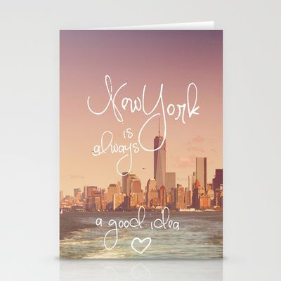 NEW YORK Stationery Cards by SUNLIGHT STUDIOS  Monika Strigel - $12.00  #ny #newyork #bag #manhattan #sundown #skyline #islandferry #ferry #quote #typo #text #words #gift #heart #card #greetingcard