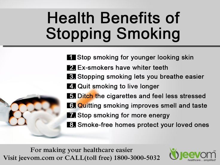 Health benefits of stopping smoking -  1. Stop smoking for younger looking skin  2. Ex-smokers have whiter teeth  3. Stopping smoking lets you breathe easier  4. Quit smoking to live longer  5. Ditch the cigarettes and feel less stressed  6. Quitting smoking improves smell and taste  7. Stop smoking for more energy  8. Smoke-free homes protect your loved ones  #QuitSmoking