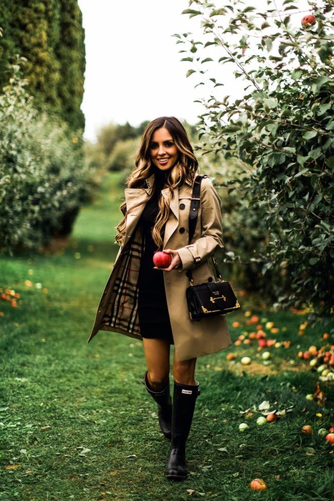 OCTOBER 20TH, 2017 BY MARIA 7 Favorite Fall Date Ideas - OUTFIT DETAILS Burberry Sandringham Trench Coat (wearing a US 0) Black Turtleneck Dress Prada Cahier Bag Hunter Boots