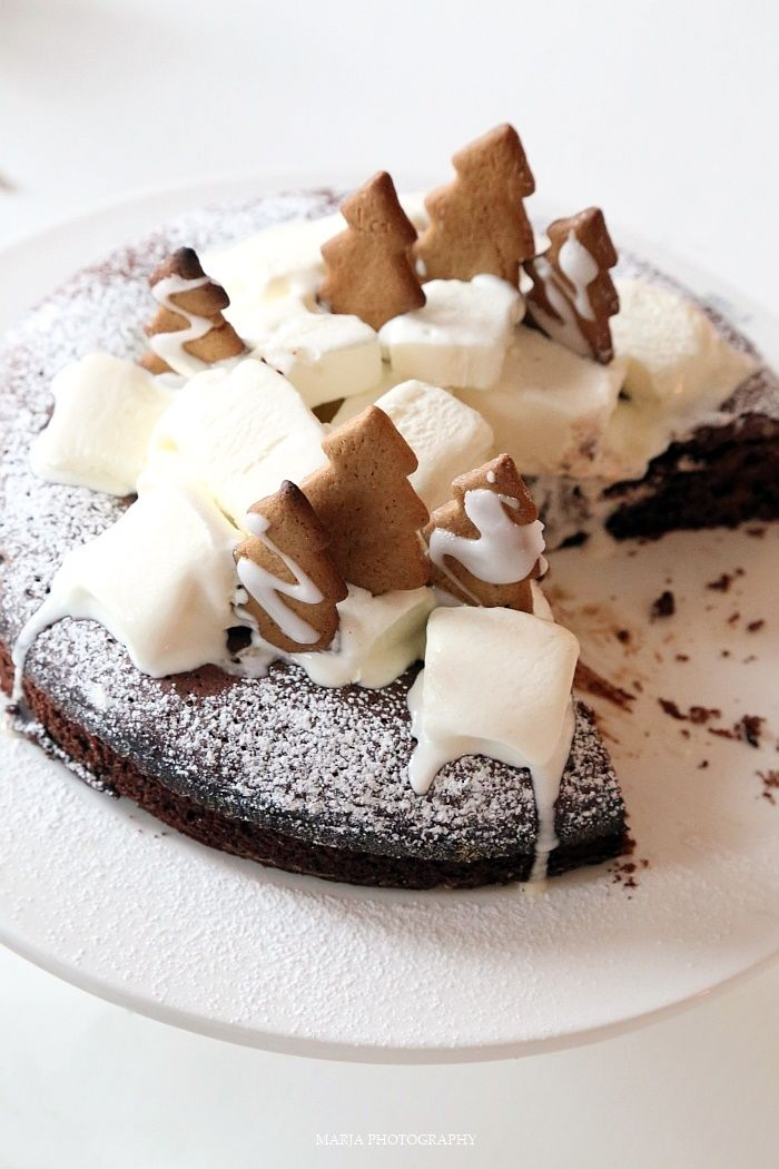 chocOlate gingerbread cake with vanilla ice cream