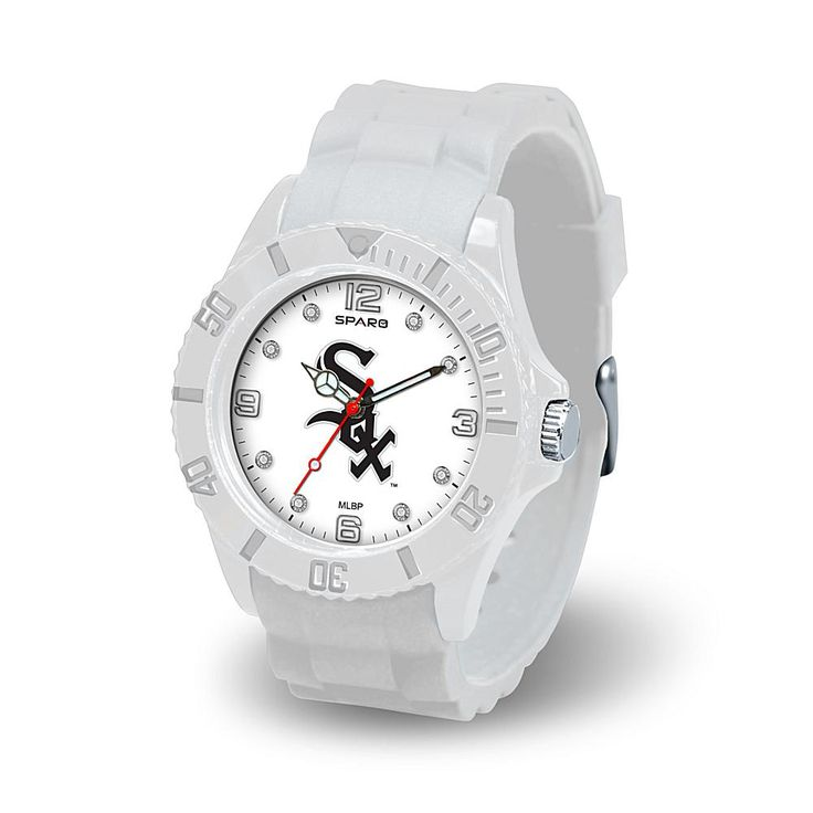 """Football Fan Shop MLB Team Logo """"Cloud Series"""" Crystal-Accented White Silicone Strap Watch - Chicago White Sox"""