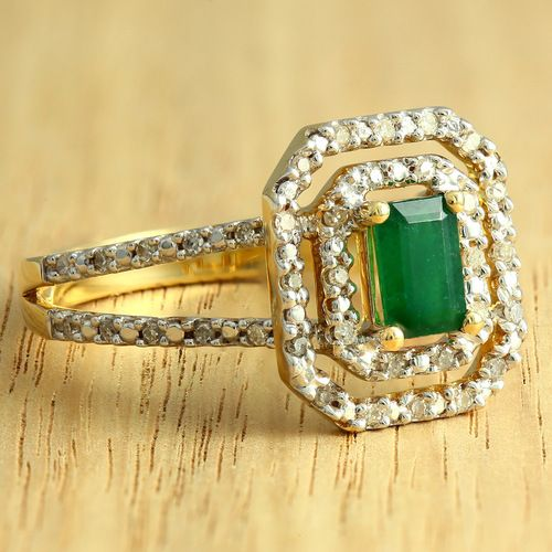 14K Yellow Gold Natural Emerald  Diamond Ring - Purejewels.com.au only $721 (certified retail value $935). - purejewels.com.au