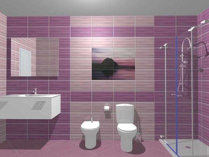 Model de design pentru baie folosind colectia de gresie si faianta Maxima Purple. Mai multe idei de amenajare pe site-ul: www.castilio.ro.