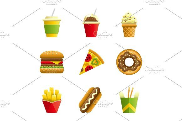 Fast food vector cartoon icon set @creativework247