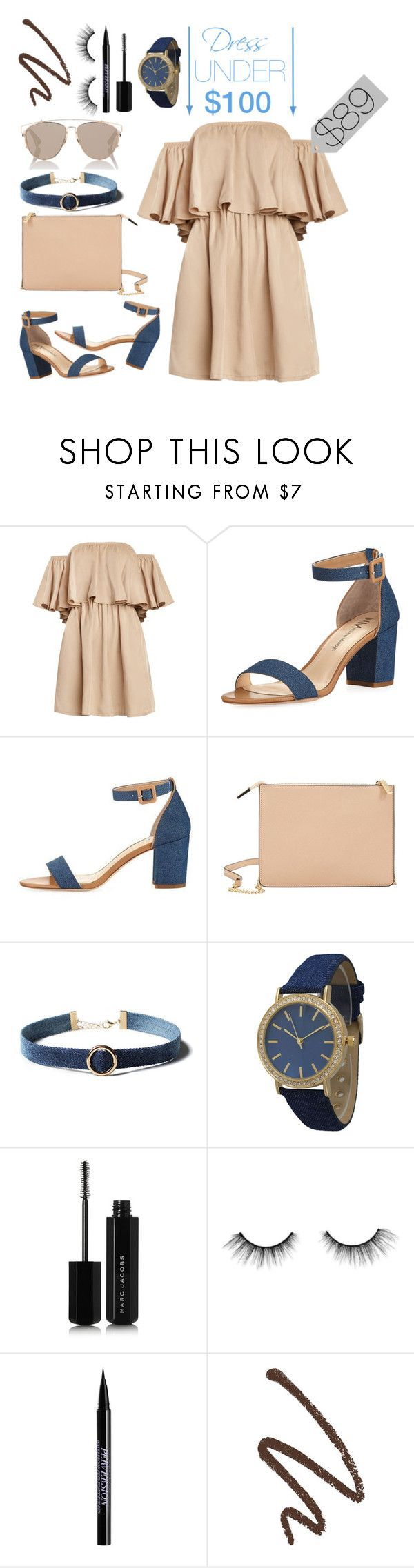 """""""Dress Under $100"""" by fentymelike ❤ liked on Polyvore featuring Neiman Marcus, MANGO, WithChic, Olivia Pratt, Marc Jacobs, tarte, Urban Decay and Christian Dior"""