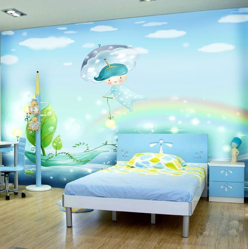 Free shipping a large mural angel cartoon wallpaper backdrop bedroom childrens room custom size
