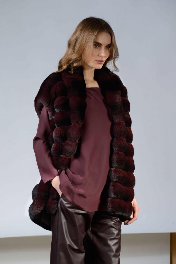Plum Dyed Chinchilla Fur Vest