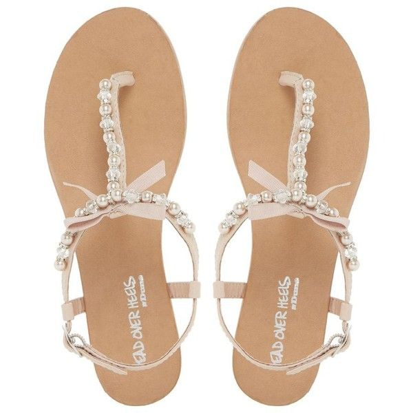 Head Over Heels by Dune Natural 'Leonia' pearl trim t-bar flat sandals (£33) ❤ liked on Polyvore featuring shoes, sandals, t strap thong sandals, t bar shoes, t bar flat shoes, flat shoes and toe post sandals