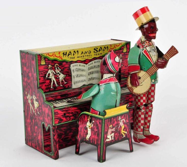 Strauss Tin Litho Wind-Up Ham & Sam Minstrel Band.