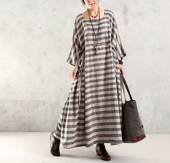 Maxi Dress Cotton Linen 1/2 Sleeve Dress Large Size Dress - Buykud- 4