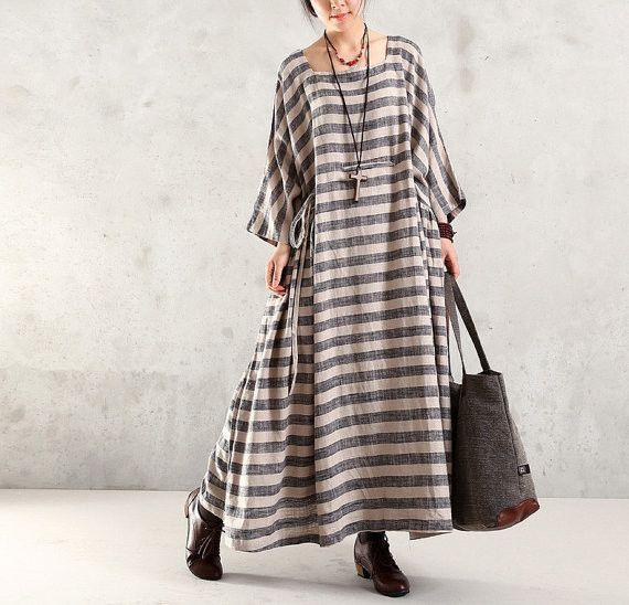Maxi Dress Cotton Linen 1/2 Sleeve Dress Large Size Dress - Buykud- 4