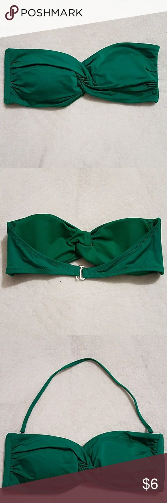 Bandeau bikini top A fun green bandeau bikini top with silver closure in the back and a removable halter strap. Mossimo Supply Co. Swim One Pieces