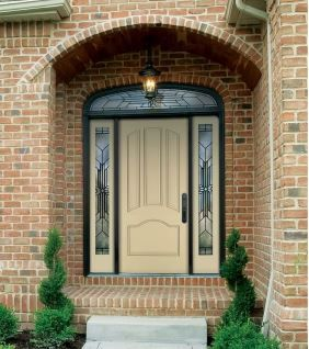 Light Yellow Front Entry Door.  Please call NEXT for all of your window and door needs. 630-590-1201