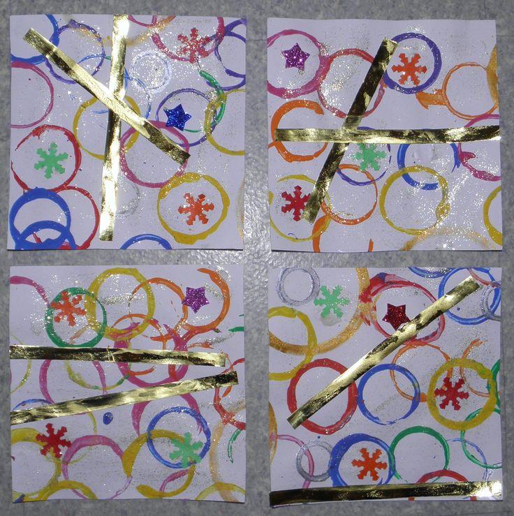 cartes de voeux (fait par ma puce 2 ans et demi) collage, paillette et peinture au bouchon