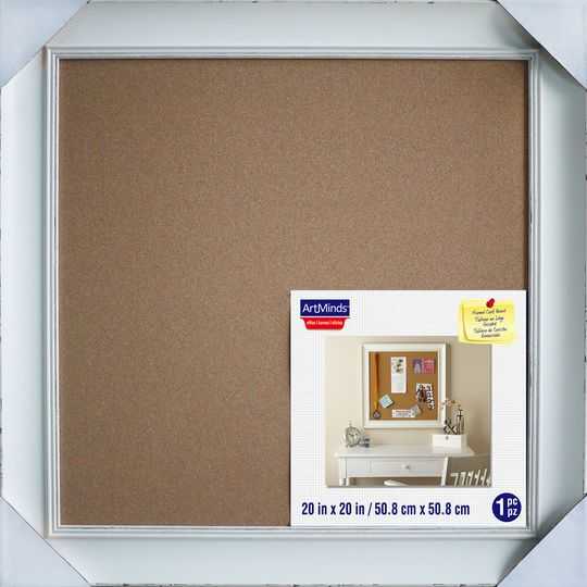 white framed cork board by artminds 20 x 20