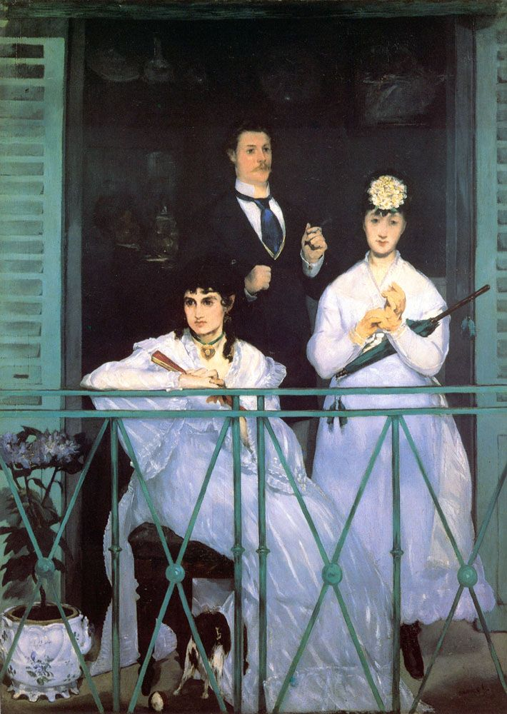 """Painting of the Day! - Eduard Manet (1832-1883) - """"The Balcony"""" - Oil on Canvas, 1868-1869 - To see more works by this artist please visit us at: http://www.artrenewal.org/pages/artist.php?artistid=790  - Share your favorite old master works with us! http://www.artrenewal.org/pages/artist.php?artistid=790"""