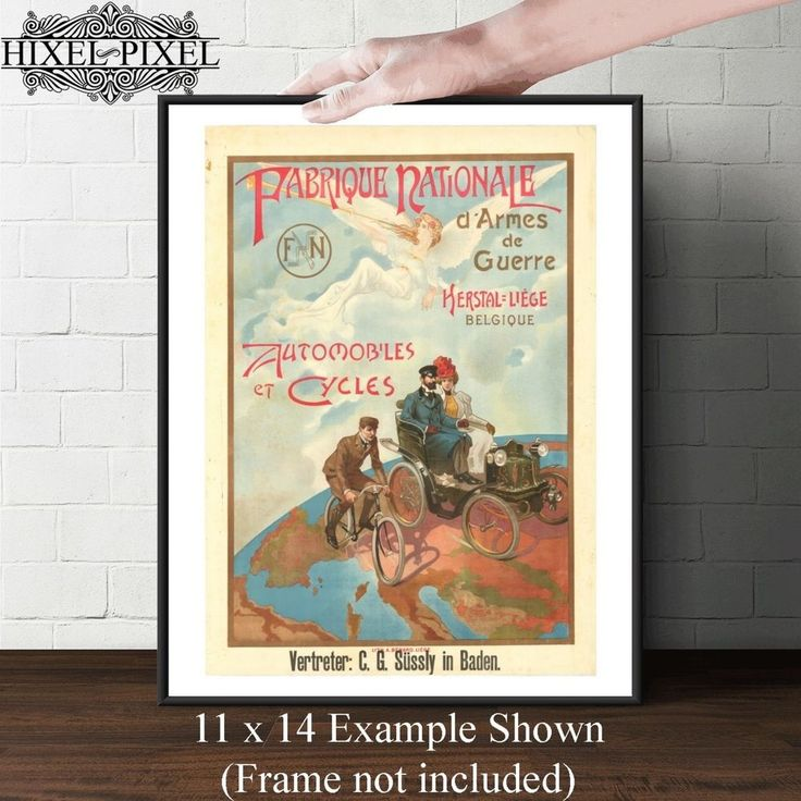 Vintage Automobile Poster Canvas Art Wall Decor fn
