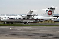 Cimber Sterling ATR 42-500 OY-CIL aircraft, parked at Denmark Sonderborg Airport. 03/11/2012.