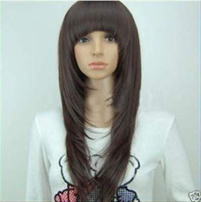 cortes de cabello largo en capas degrafilado hermosa peluca cafe obscuro corte