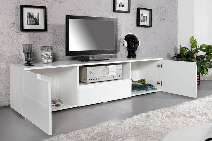 Meuble TV design blanc laqué Spice 165 cm