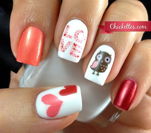 "These nails are a hoot! ""Owl Love"" Valentine's Day Nail Art Using Water Decals"